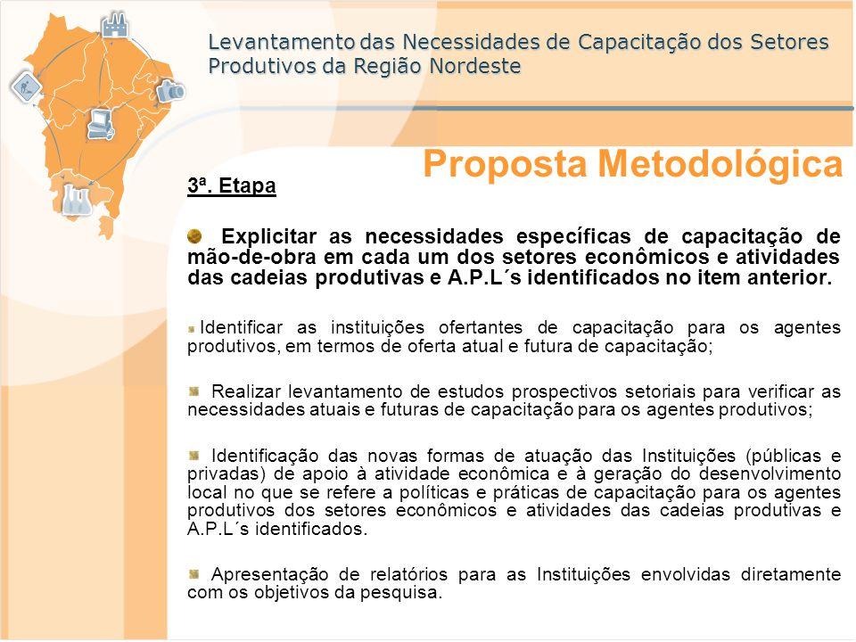 Levantamento das Necessidades de Capacitação dos Setores Produtivos da Região Nordeste 3ª. Etapa Explicitar as necessidades específicas de capacitação