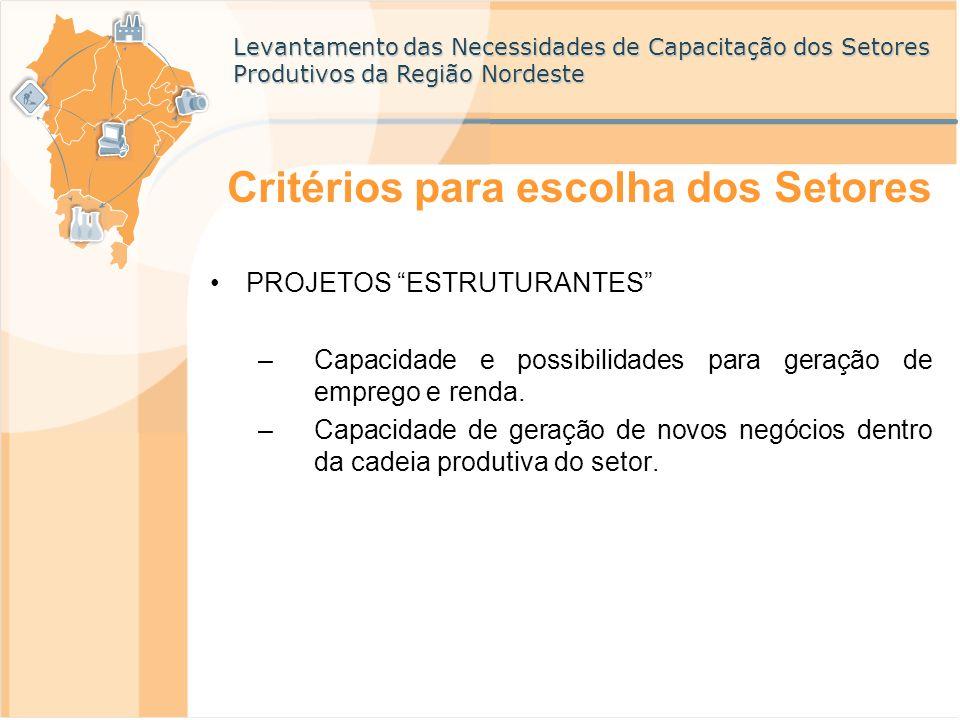 """Levantamento das Necessidades de Capacitação dos Setores Produtivos da Região Nordeste Critérios para escolha dos Setores PROJETOS """"ESTRUTURANTES"""" –Ca"""