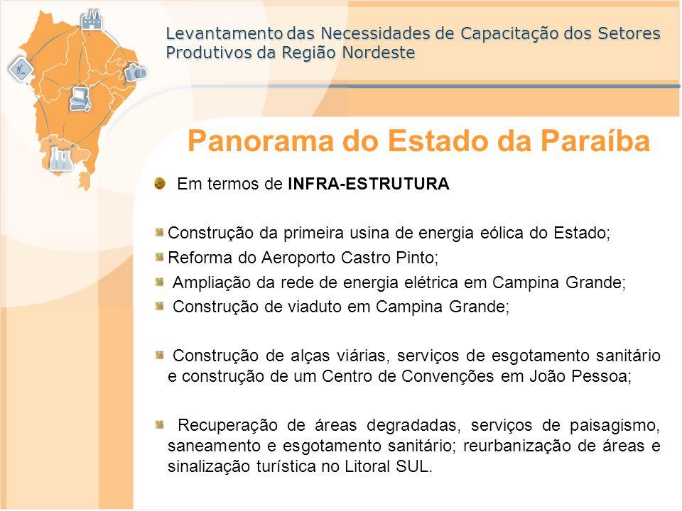 Levantamento das Necessidades de Capacitação dos Setores Produtivos da Região Nordeste Panorama do Estado da Paraíba Em termos de INFRA-ESTRUTURA Cons