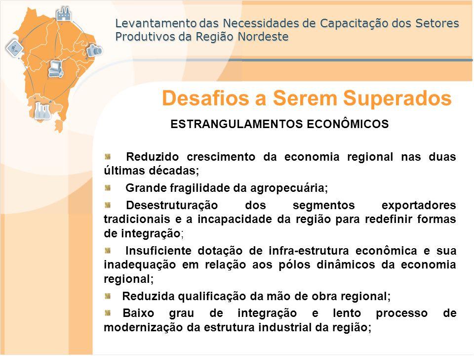 Levantamento das Necessidades de Capacitação dos Setores Produtivos da Região Nordeste Desafios a Serem Superados ESTRANGULAMENTOS ECONÔMICOS Reduzido