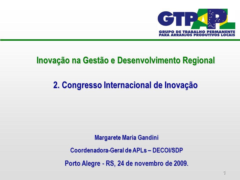 1 Inovação na Gestão e Desenvolvimento Regional 2. Congresso Internacional de Inovação Margarete Maria Gandini Coordenadora-Geral de APLs – DECOI/SDP