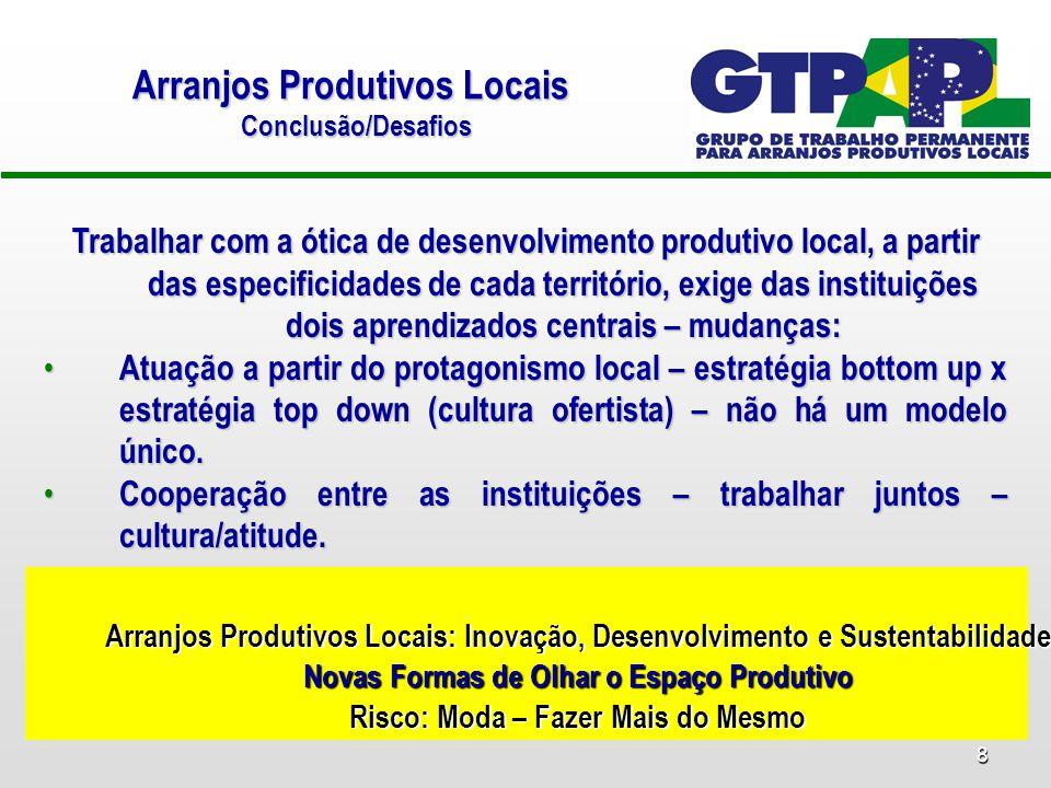 8 Trabalhar com a ótica de desenvolvimento produtivo local, a partir das especificidades de cada território, exige das instituições dois aprendizados
