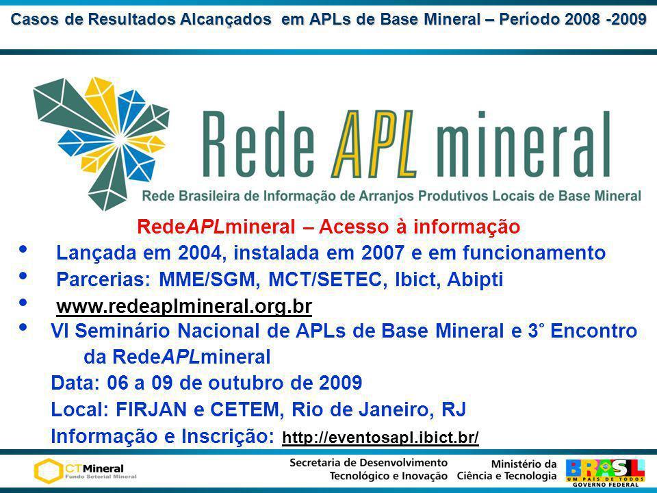 Casos de Resultados Alcançadosem APLs de Base Mineral – Período 2008 -2009 Casos de Resultados Alcançados em APLs de Base Mineral – Período 2008 -2009