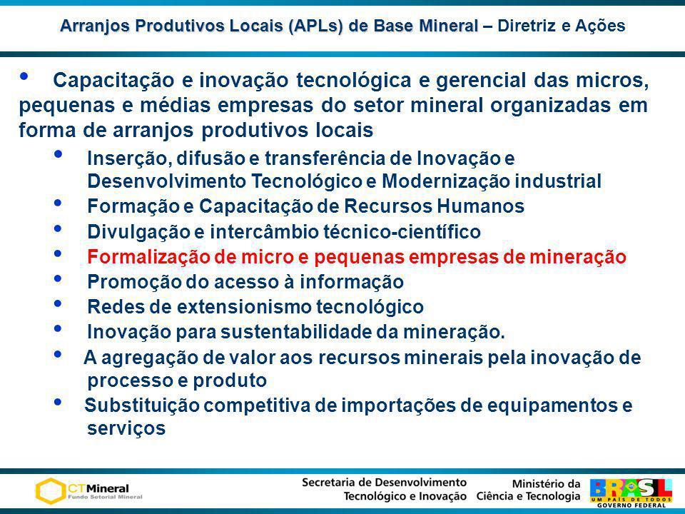 Arranjos Produtivos Locais (APLs) de Base Mineral Arranjos Produtivos Locais (APLs) de Base Mineral – Diretriz e Ações Capacitação e inovação tecnológ