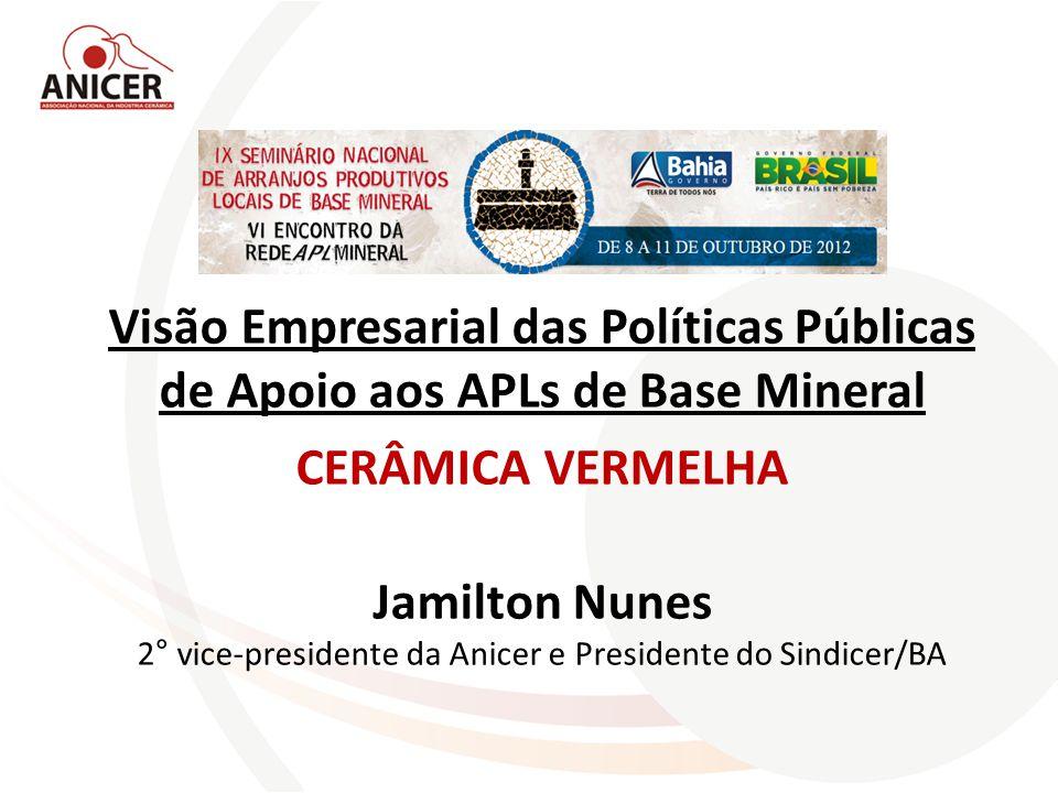 Visão Empresarial das Políticas Públicas de Apoio aos APLs de Base Mineral CERÂMICA VERMELHA Jamilton Nunes 2° vice-presidente da Anicer e Presidente do Sindicer/BA