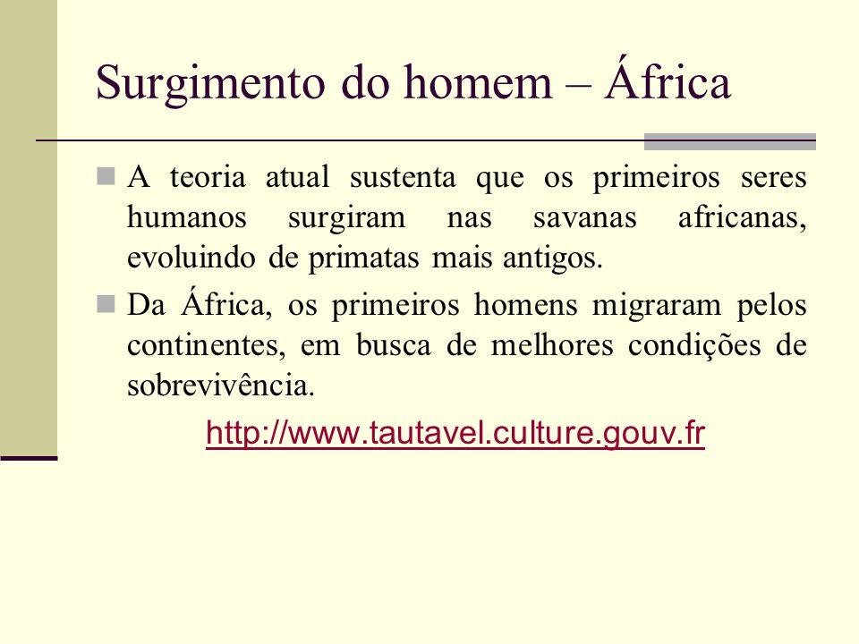 Surgimento do homem – África A teoria atual sustenta que os primeiros seres humanos surgiram nas savanas africanas, evoluindo de primatas mais antigos