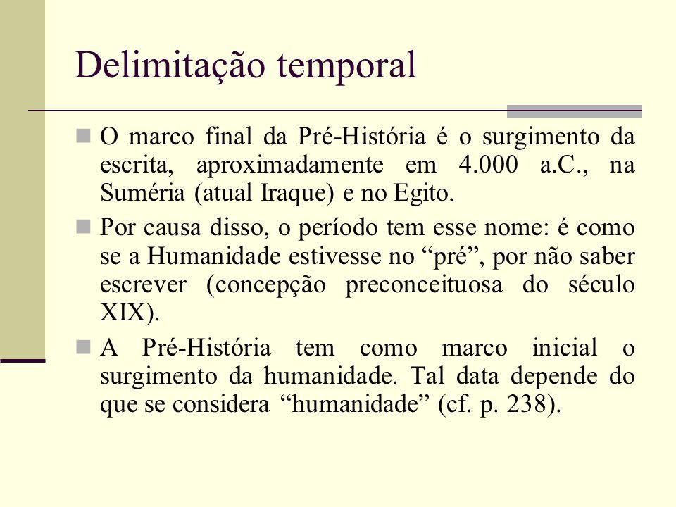 Delimitação temporal O marco final da Pré-História é o surgimento da escrita, aproximadamente em 4.000 a.C., na Suméria (atual Iraque) e no Egito. Por
