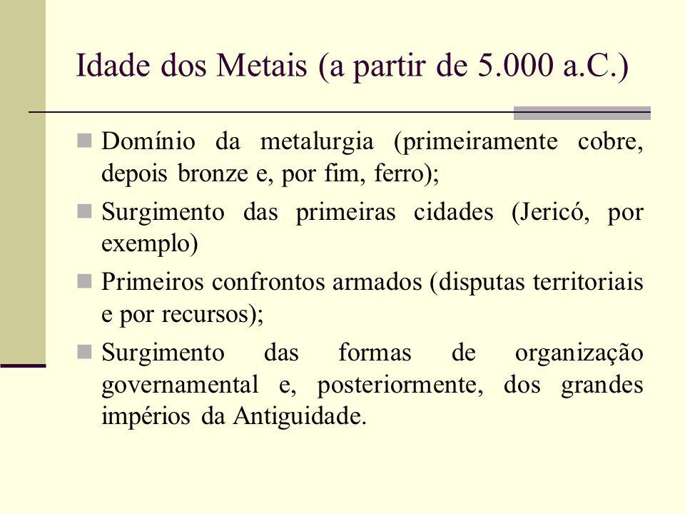 Idade dos Metais (a partir de 5.000 a.C.) Domínio da metalurgia (primeiramente cobre, depois bronze e, por fim, ferro); Surgimento das primeiras cidad