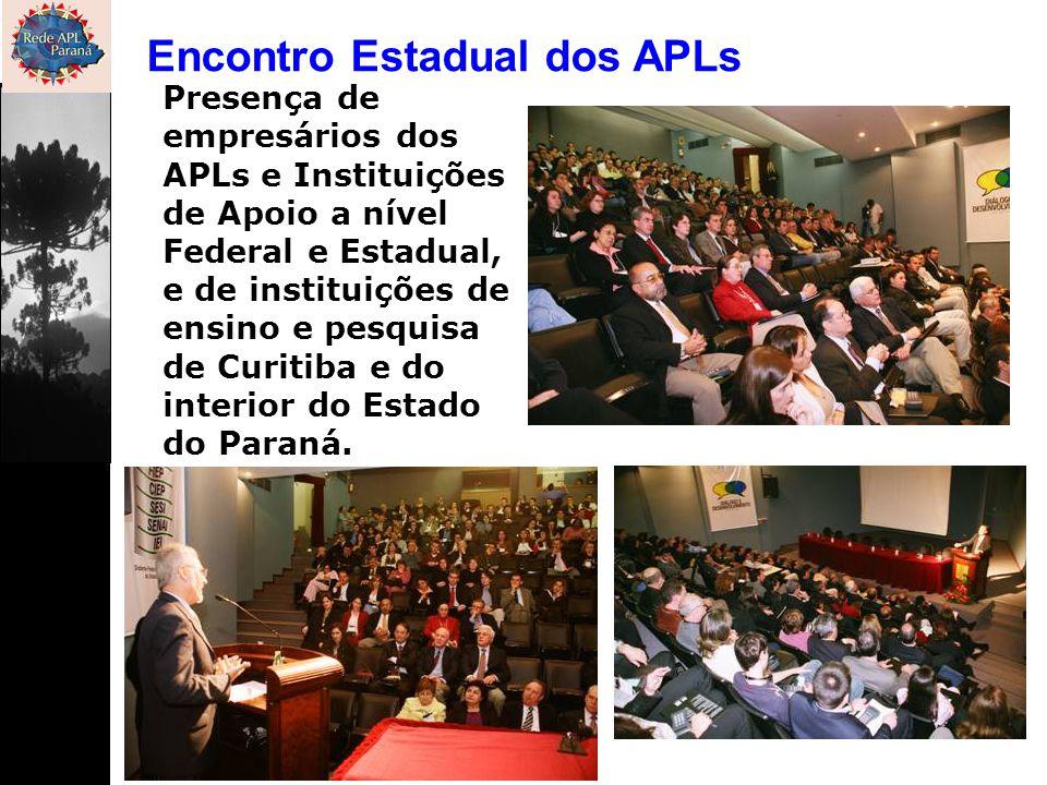 Encontro Estadual dos APLs Presença de empresários dos APLs e Instituições de Apoio a nível Federal e Estadual, e de instituições de ensino e pesquisa