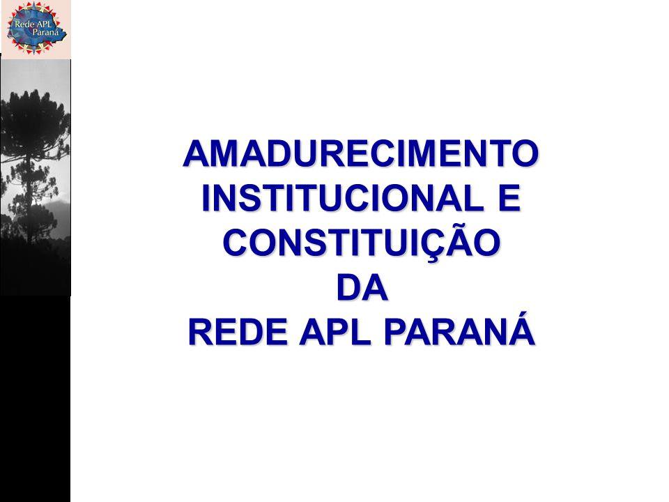 AMADURECIMENTO INSTITUCIONAL E CONSTITUIÇÃODA REDE APL PARANÁ