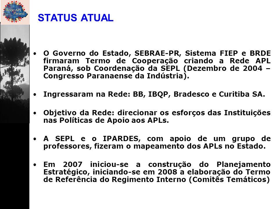 O Governo do Estado, SEBRAE-PR, Sistema FIEP e BRDE firmaram Termo de Cooperação criando a Rede APL Paraná, sob Coordenação da SEPL (Dezembro de 2004