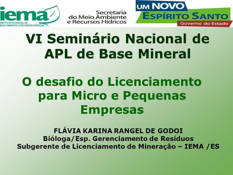 VI Seminário Nacional de APL de Base Mineral O desafio do Licenciamento para Micro e Pequenas Empresas FLÁVIA KARINA RANGEL DE GODOI Bióloga/Esp.