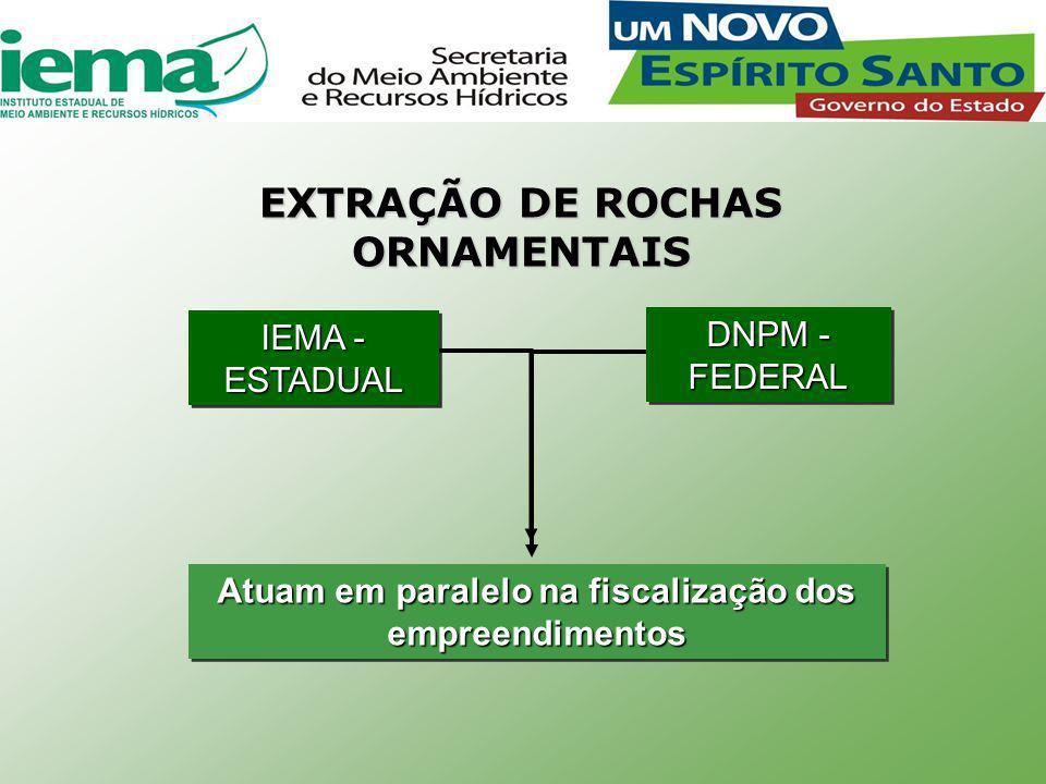 Atuam em paralelo na fiscalização dos empreendimentos IEMA - ESTADUAL DNPM - FEDERAL