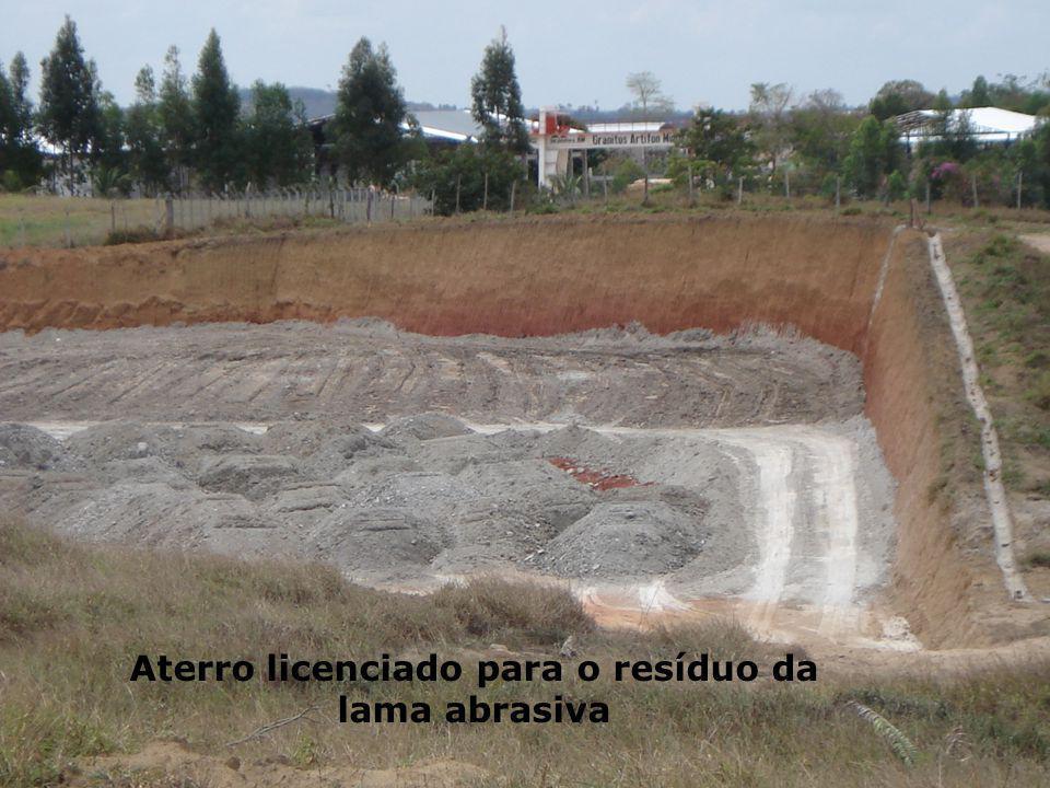Aterro licenciado para o resíduo da lama abrasiva
