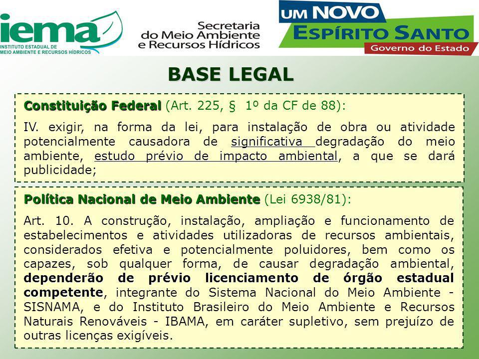 Resolução CONAMA nº 237/97 Disciplina os procedimentos do licenciamento ambiental: 1.Regulamenta as competências para o licenciamento 2.Define as etapas do procedimento de licenciamento 3.Confere ao órgão ambiental a competência para a definição de outros estudos ambientais pertinentes ao processo de licenciamento, em se verificando que o empreendimento não é potencialmente causador de significativa degradação ambiental.