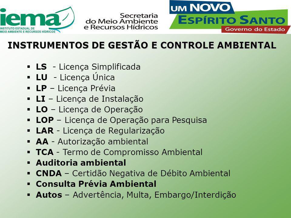  LS - Licença Simplificada  LU - Licença Única  LP – Licença Prévia  LI – Licença de Instalação  LO – Licença de Operação  LOP – Licença de Operação para Pesquisa  LAR - Licença de Regularização  AA - Autorização ambiental  TCA - Termo de Compromisso Ambiental  Auditoria ambiental  CNDA – Certidão Negativa de Débito Ambiental  Consulta Prévia Ambiental  Autos – Advertência, Multa, Embargo/Interdição INSTRUMENTOS DE GESTÃO E CONTROLE AMBIENTAL