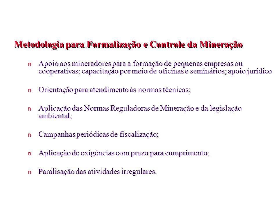 n Apoio aos mineradores para a formação de pequenas empresas ou cooperativas; capacitação por meio de oficinas e seminários; apoio jurídico n Orientaç