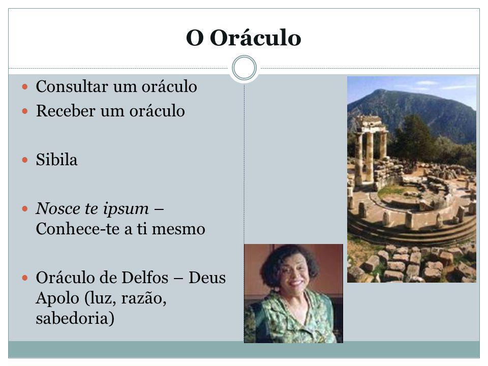 O Oráculo Consultar um oráculo Receber um oráculo Sibila Nosce te ipsum – Conhece-te a ti mesmo Oráculo de Delfos – Deus Apolo (luz, razão, sabedoria)