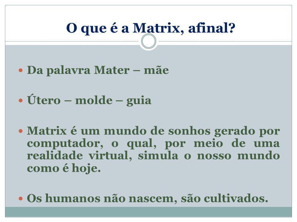 O que é a Matrix, afinal? Da palavra Mater – mãe Útero – molde – guia Matrix é um mundo de sonhos gerado por computador, o qual, por meio de uma reali