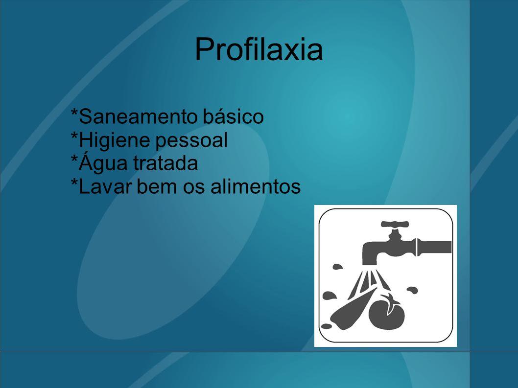 Profilaxia *Saneamento básico *Higiene pessoal *Água tratada *Lavar bem os alimentos