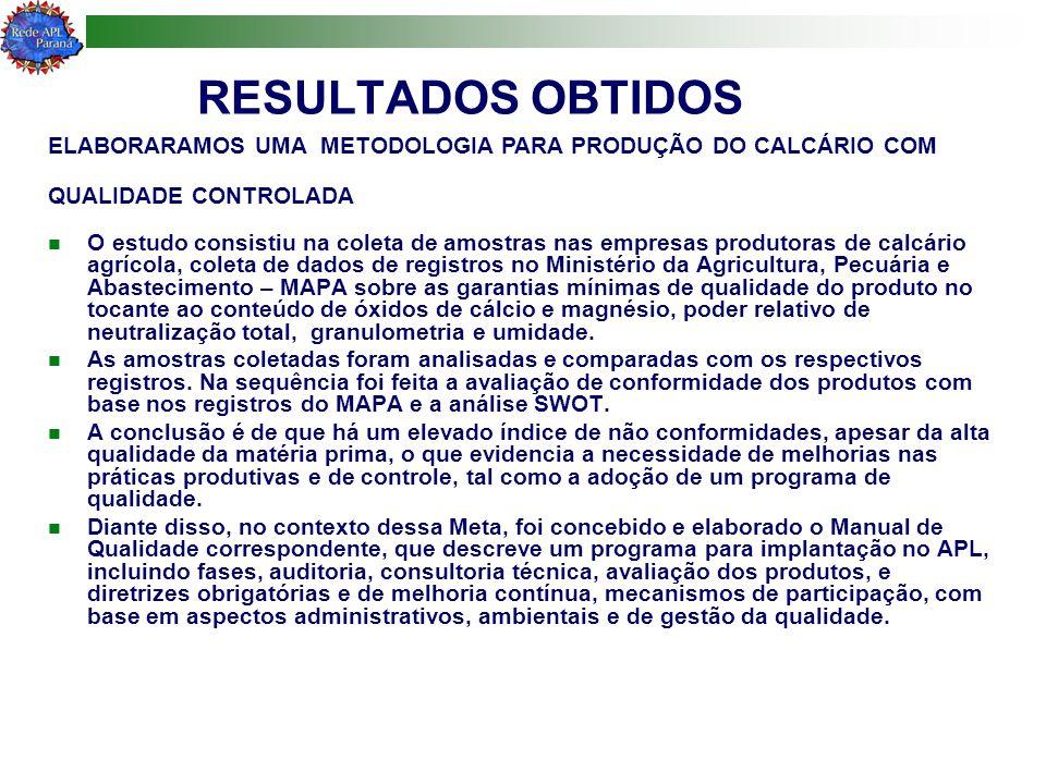RESULTADOS OBTIDOS O estudo consistiu na coleta de amostras nas empresas produtoras de calcário agrícola, coleta de dados de registros no Ministério d