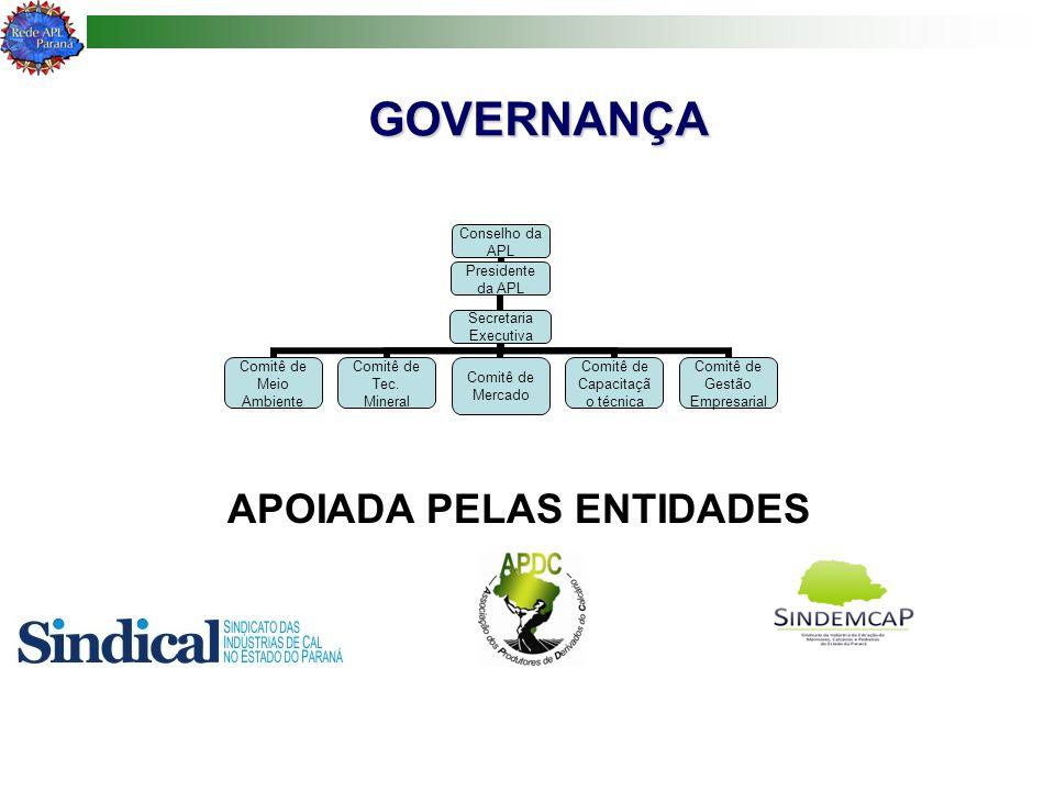 GOVERNANÇA GOVERNANÇA Conselho da APL Presidente da APL Secretaria Executiva Comitê de Meio Ambiente Comitê de Tec. Mineral Comitê de Mercado Comitê d