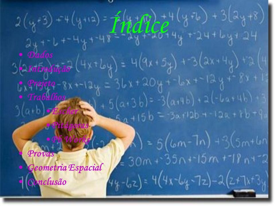 Ao contrário de Escher o divertimento de Pitágoras era brincar com números e se interessava tanto por isso que não queria nunca chegar a uma resposta óbvia e sim mais eleborada Uma das suas maiores descobertas levou seu nome até os dias de hoje......que foi uma fórmula para cálculos de área, volume entre outros......