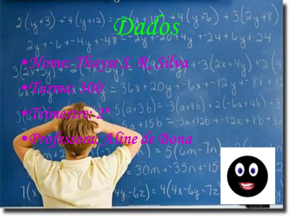 Dados Nome: Thayse S. R. Silva Turma: 300 Trimestre: 2º Professora: Aline de Bona