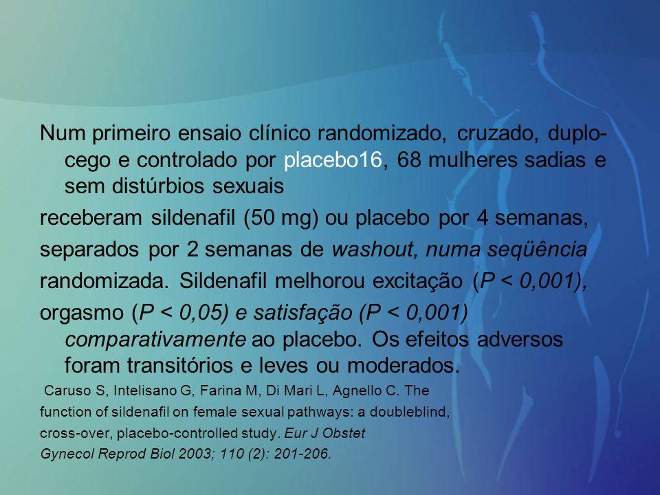 Num primeiro ensaio clínico randomizado, cruzado, duplo- cego e controlado por placebo16, 68 mulheres sadias e sem distúrbios sexuais receberam silden