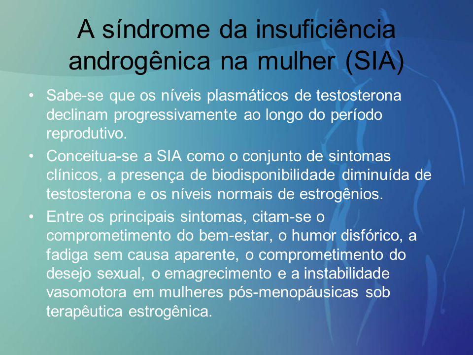 A síndrome da insuficiência androgênica na mulher (SIA) Sabe-se que os níveis plasmáticos de testosterona declinam progressivamente ao longo do períod