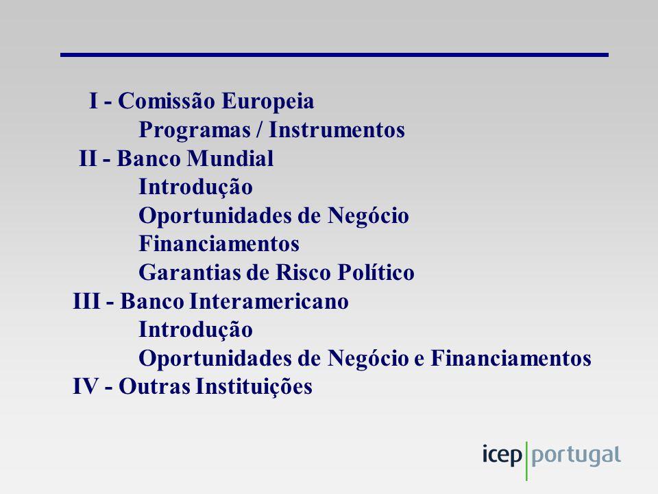 I - Comissão Europeia Programas / Instrumentos II - Banco Mundial Introdução Oportunidades de Negócio Financiamentos Garantias de Risco Político III - Banco Interamericano Introdução Oportunidades de Negócio e Financiamentos IV - Outras Instituições