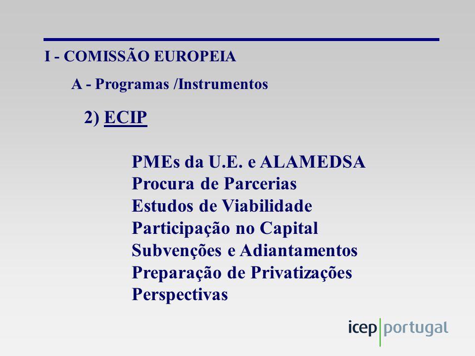 I - COMISSÃO EUROPEIA 2) ECIP PMEs da U.E.