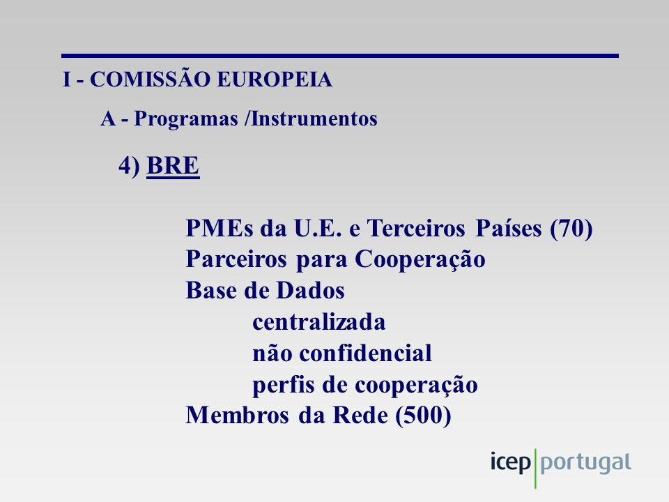 IV – OUTRAS INSTITUIÇÕES CNUCED Empretec PMEs América Latina e África Iniciativa Empresarial Actividades Formação Consultoria gestão Network PMEs – Multinacionais