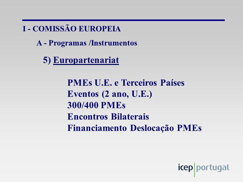 IV – OUTRAS INSTITUIÇÕES PNUD Rede TIPs PMEs América Latina, África, Ásia e Europa LESTE Difusão Electrónica de Oportunidades de Negócios Informação: Sistemas/Formação (AL-Invest)