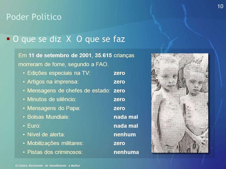 10 © Clínica Berenstein de Atendimento à Mulher Poder Político  O que se diz X O que se faz Em 11 de setembro de 2001, 35.615 crianças morreram de fo