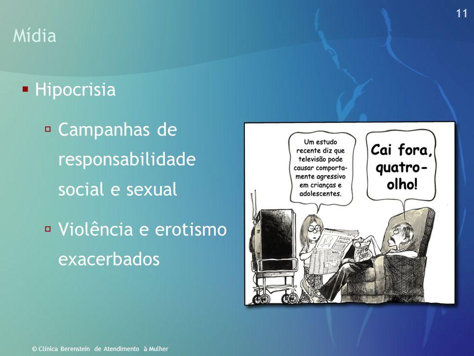 11 © Clínica Berenstein de Atendimento à Mulher Mídia  Hipocrisia  Campanhas de responsabilidade social e sexual  Violência e erotismo exacerbados
