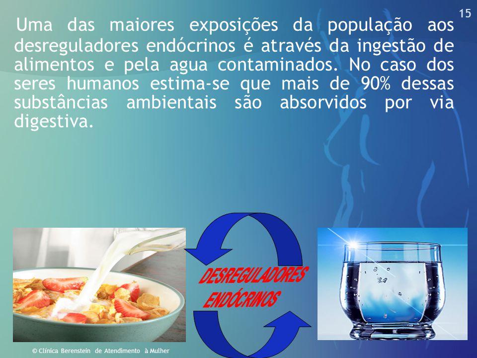 15 © Clínica Berenstein de Atendimento à Mulher Uma das maiores exposições da população aos desreguladores endócrinos é através da ingestão de aliment
