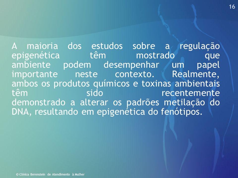 16 © Clínica Berenstein de Atendimento à Mulher A maioria dos estudos sobre a regulação epigenética têm mostrado que ambiente podem desempenhar um pap