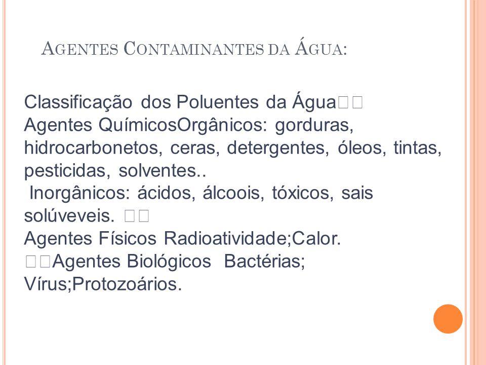 A GENTES C ONTAMINANTES DA Á GUA : Classificação dos Poluentes da Água Agentes QuímicosOrgânicos: gorduras, hidrocarbonetos, ceras, detergentes, óleos