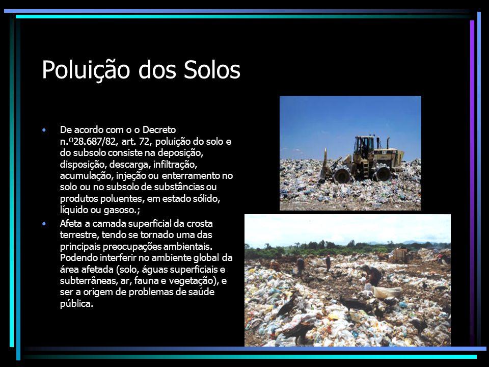 Poluição dos Solos De acordo com o o Decreto n.º28.687/82, art.