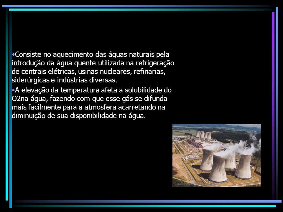 Inúmeros são os resíduos sólidos, líquidos e gasosos provenientes das indústrias e lançados diretamente nos rios e córregos.Agentes principais da poluição industrial são os gases tóxicos liberados na atmosfera, os compostos químicos orgânicos e inorgânicos lançados nos corpos hídricos