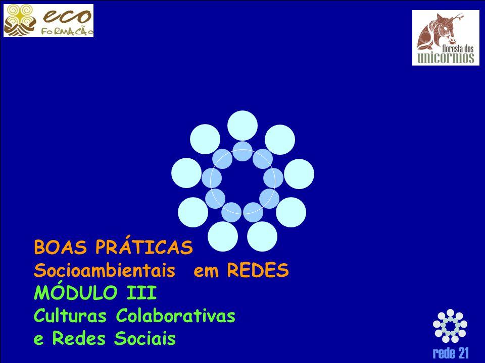 rede 21 BOAS PRÁTICAS Socioambientais em REDES MÓDULO III Culturas Colaborativas e Redes Sociais