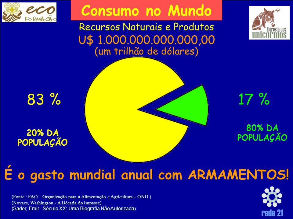 rede 21 (Fonte : FAO – Organização para a Alimentação e Agricultura - ONU.) (Novaes, Washington - A Década do Impasse) (Sader, Emir - Século XX: Uma Biografia Não Autorizada ) 20% DA POPULAÇÃO Consumo no Mundo 80% DA POPULAÇÃO Recursos Naturais e Produtos 83 %17 % U$ 1.000.000.000.000,00 (um trilhão de dólares) É o gasto mundial anual com ARMAMENTOS!