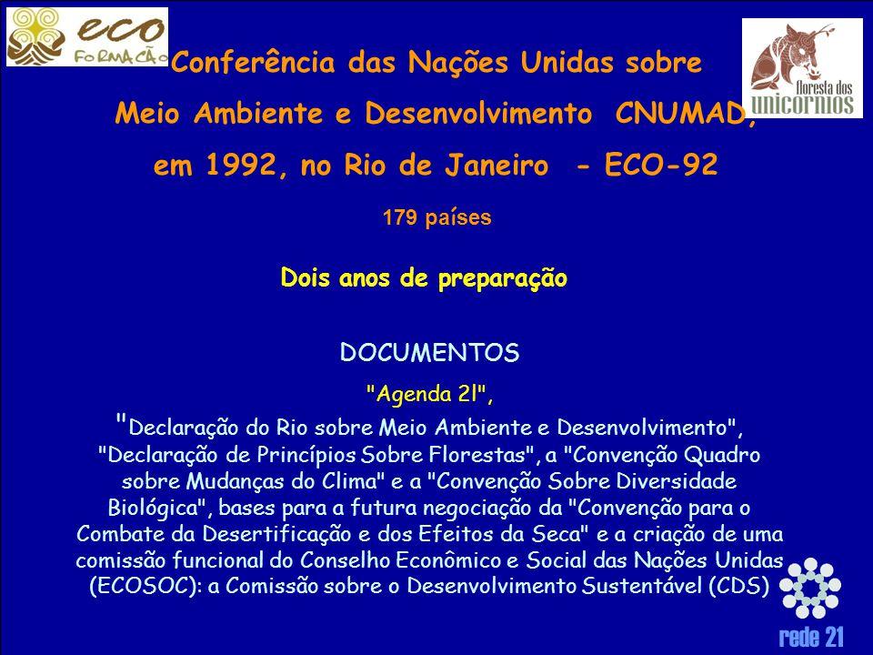rede 21 Conferência das Nações Unidas sobre Meio Ambiente e Desenvolvimento CNUMAD, em 1992, no Rio de Janeiro - ECO-92 179 pa í ses DOCUMENTOS Agenda 2l , Declaração do Rio sobre Meio Ambiente e Desenvolvimento , Declaração de Princípios Sobre Florestas , a Convenção Quadro sobre Mudanças do Clima e a Convenção Sobre Diversidade Biológica , bases para a futura negociação da Convenção para o Combate da Desertificação e dos Efeitos da Seca e a criação de uma comissão funcional do Conselho Econômico e Social das Nações Unidas (ECOSOC): a Comissão sobre o Desenvolvimento Sustentável (CDS) Dois anos de preparação