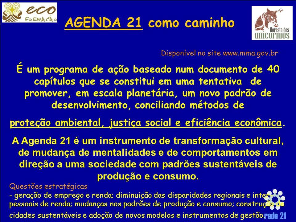 rede 21 É um programa de ação baseado num documento de 40 capítulos que se constitui em uma tentativa de promover, em escala planetária, um novo padrão de desenvolvimento, conciliando métodos de proteção ambiental, justiça social e eficiência econômica.