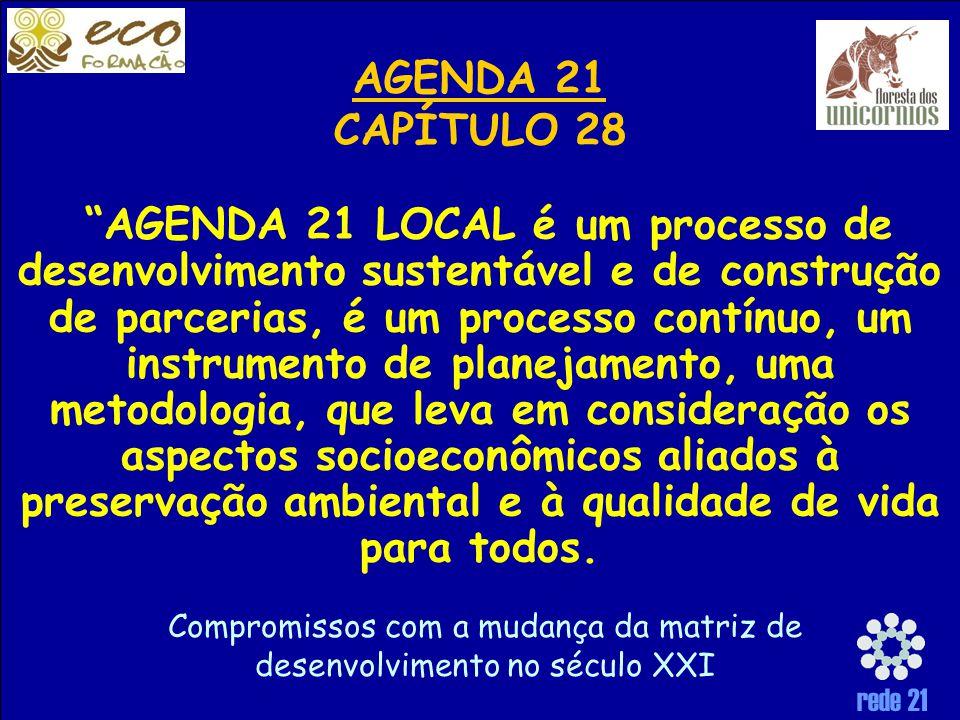 rede 21 AGENDA 21 LOCAL é um processo de desenvolvimento sustentável e de construção de parcerias, é um processo contínuo, um instrumento de planejamento, uma metodologia, que leva em consideração os aspectos socioeconômicos aliados à preservação ambiental e à qualidade de vida para todos.