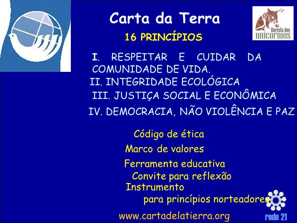 rede 21 Carta da Terra Instrumento para princípios norteadores Convite para reflexão Ferramenta educativa Marco de valores Código de ética I.