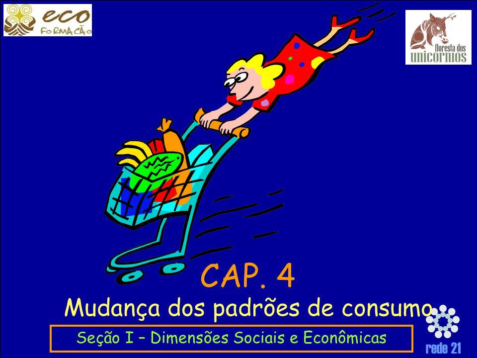 rede 21 Mudança dos padrões de consumo Seção I – Dimensões Sociais e Econômicas CAP. 4
