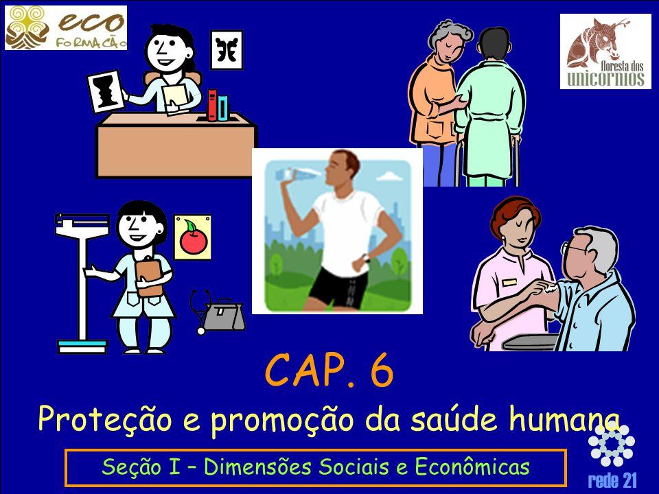 rede 21 Proteção e promoção da saúde humana Seção I – Dimensões Sociais e Econômicas CAP. 6