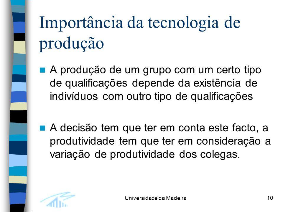 Universidade da Madeira10 Importância da tecnologia de produção A produção de um grupo com um certo tipo de qualificações depende da existência de ind
